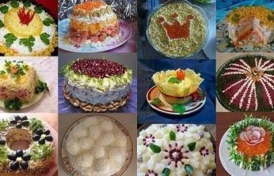 12 новогодних салатов из простых продуктов